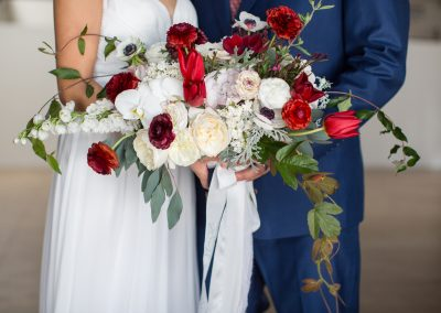 Red white blue brides bouquet