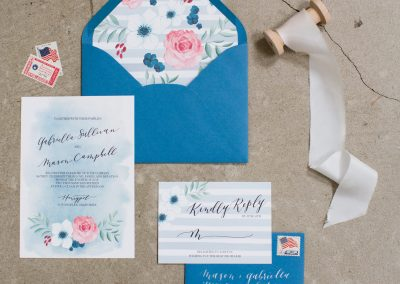 blue, pink, white invitation set