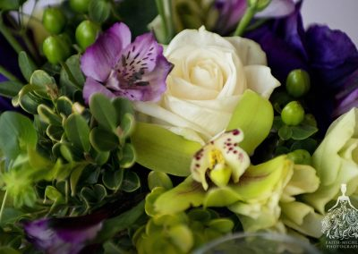 meadows events_purple fushia flowers_westlake village inn wedding