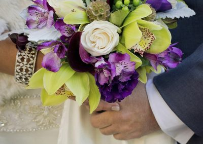 meadows events_purple orchid bouquet_westlake village inn wedding