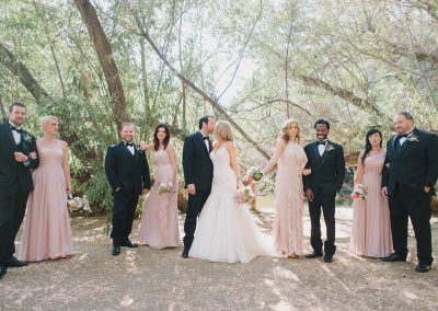 pink and black wedding colors_bridal party