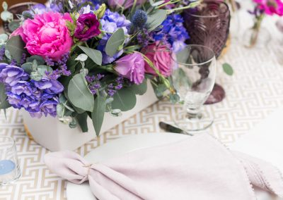 purple and fushia tablescape_bridal shower manhattan beach