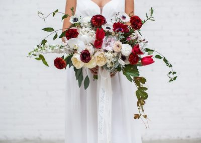red burgundy with wedding bouquet idea