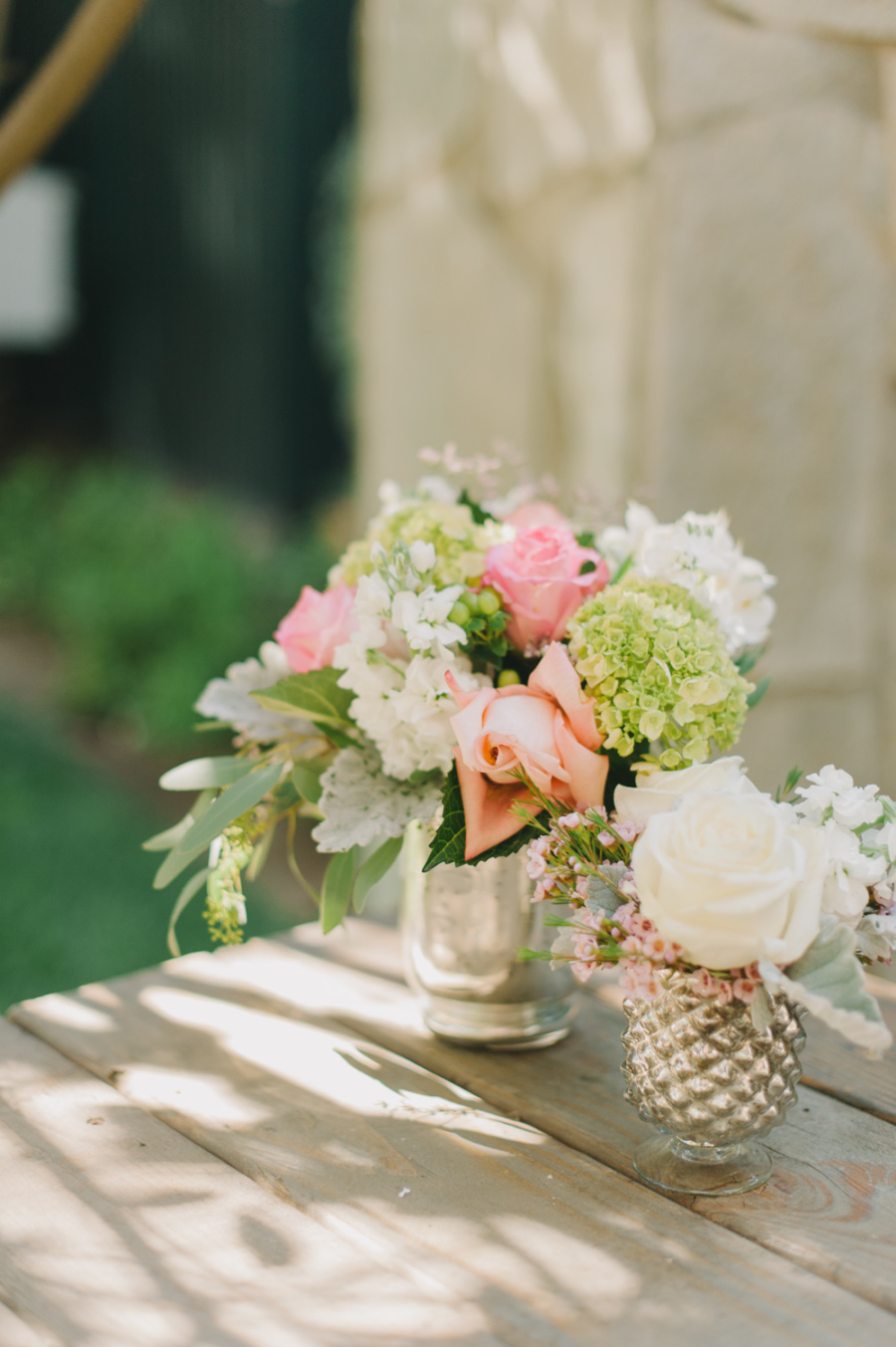 pink and green floral arrangement