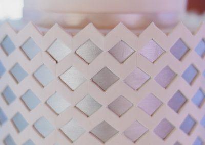 white and blush modern wedding cake