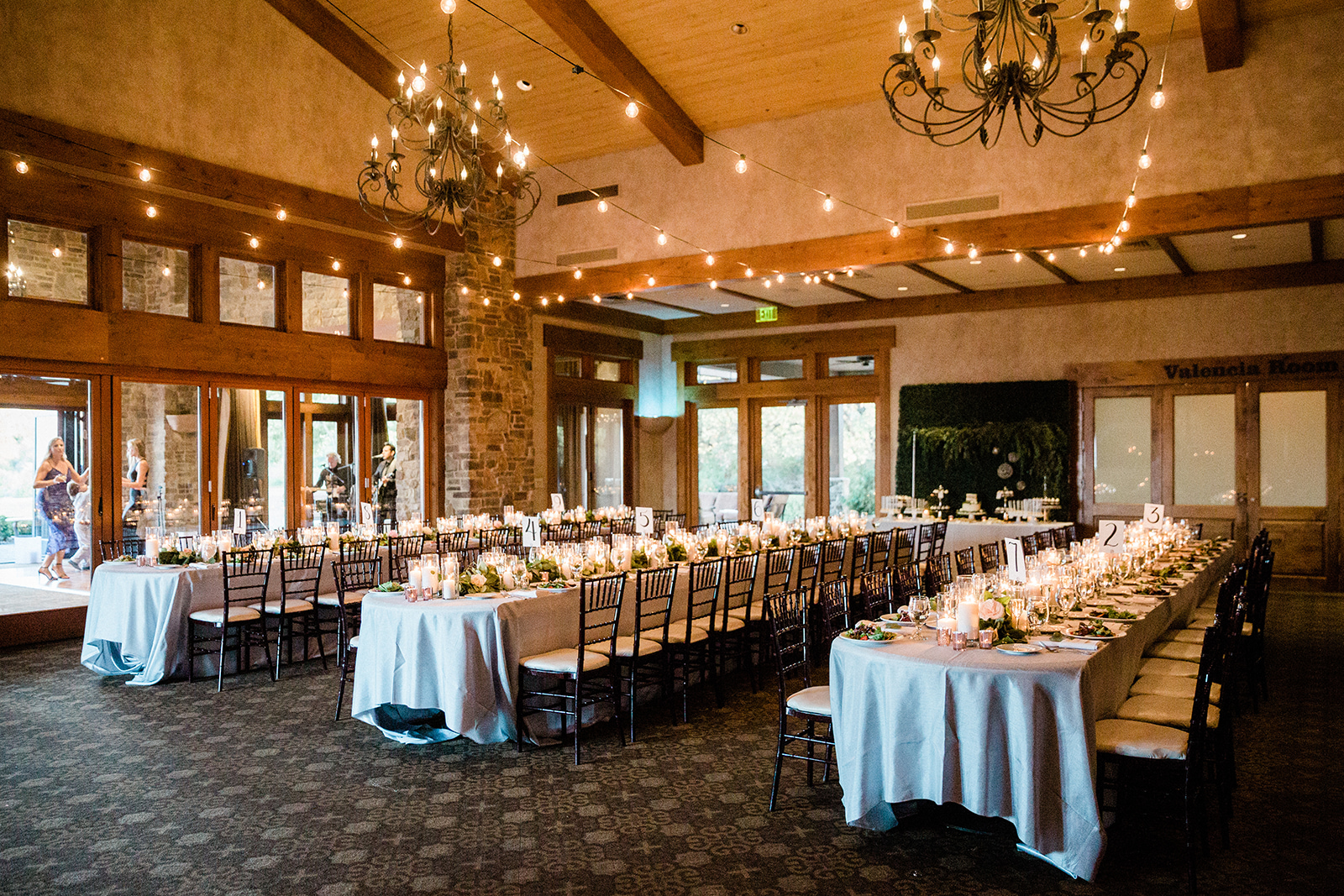 Long table decor with uplights