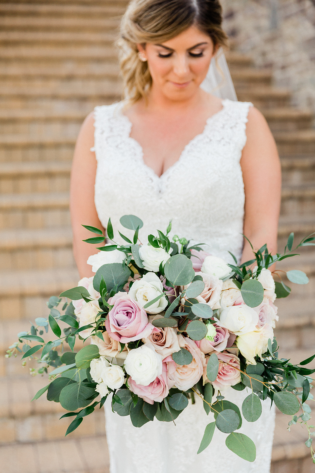blush and white greenery bouquet