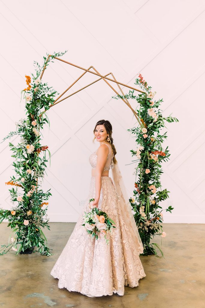 Asymetrical Metal Ceremony Arch - Meadows Events