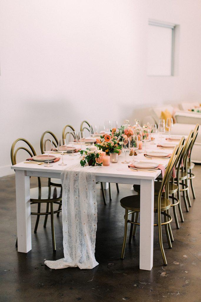 Peachy Minimalist Tablescape-Meadows Events