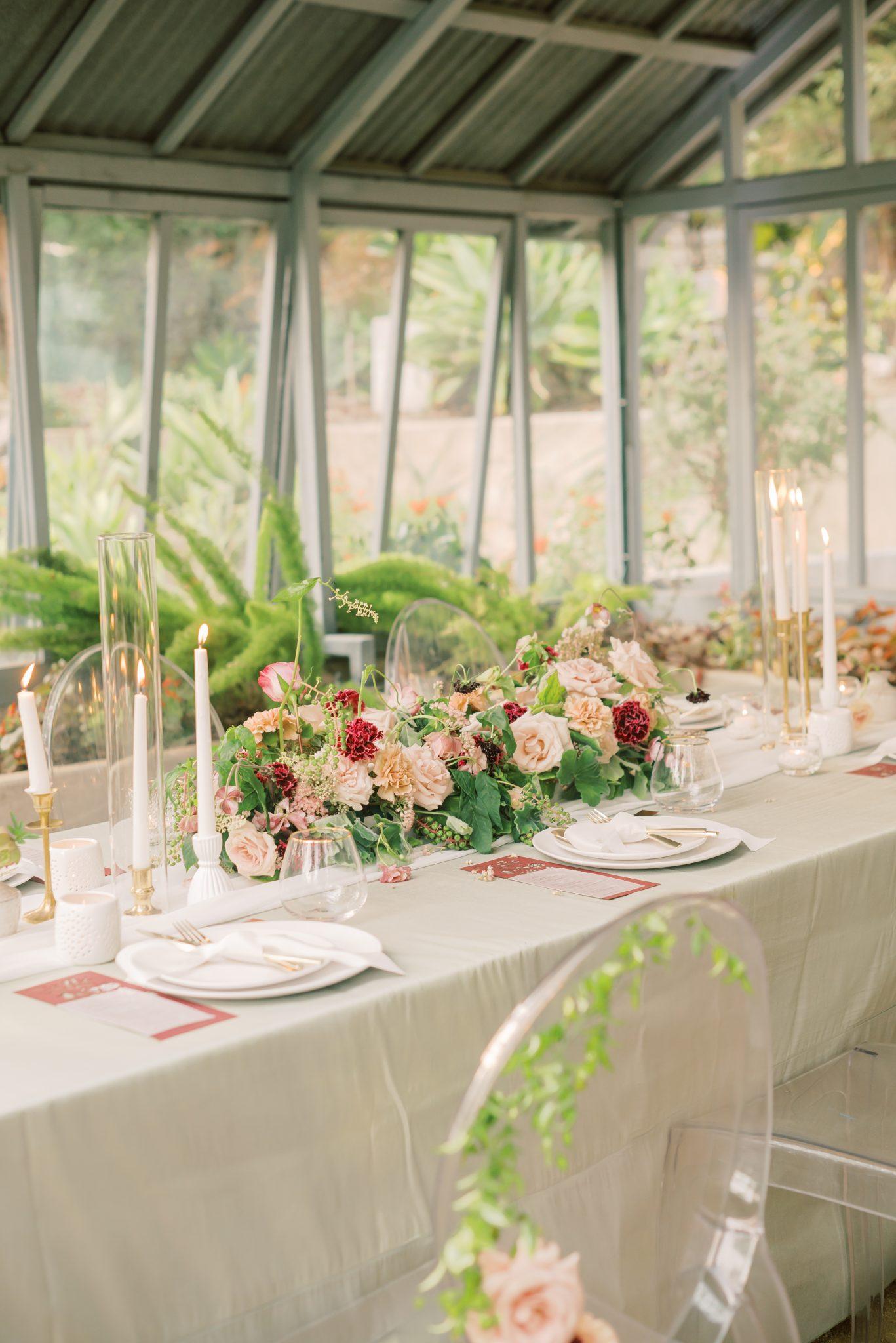 blush and cranberry floral centerpiece joseph calvo photography
