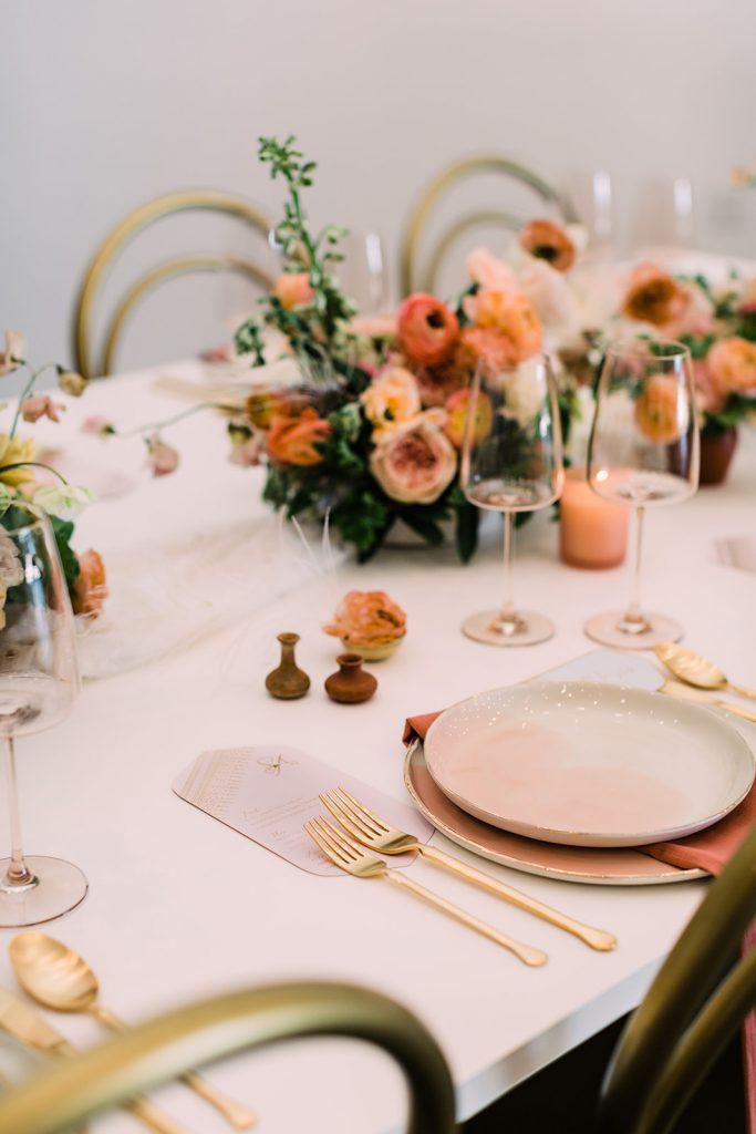 luxury peach dinnerware events
